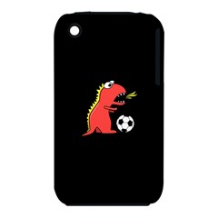 Black Cartoon Dinosaur Soccer Apple Iphone 3g/3gs Hardshell Case (pc+silicone)