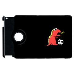 Black Cartoon Dinosaur Soccer Apple Ipad 3/4 Flip 360 Case
