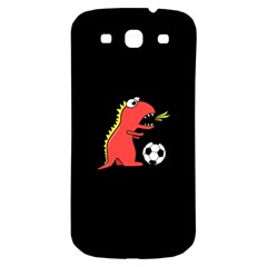 Black Cartoon Dinosaur Soccer Samsung Galaxy S3 S Iii Classic Hardshell Back Case