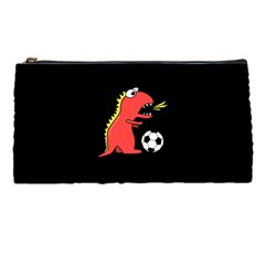 Black Cartoon Dinosaur Soccer Pencil Case