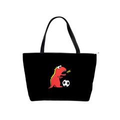 Black Cartoon Dinosaur Soccer Large Shoulder Bag