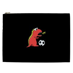 Black Cartoon Dinosaur Soccer Cosmetic Bag (xxl)