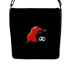 Black Cartoon Dinosaur Soccer Flap Closure Messenger Bag (large)