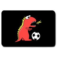 Black Cartoon Dinosaur Soccer Large Door Mat