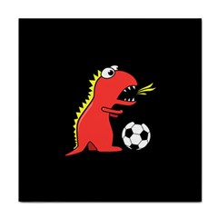 Black Cartoon Dinosaur Soccer Ceramic Tile