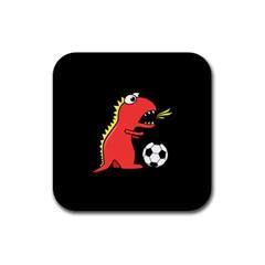 Black Cartoon Dinosaur Soccer Drink Coaster (square)