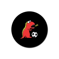 Black Cartoon Dinosaur Soccer Drink Coaster (round)