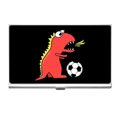 Black Cartoon Dinosaur Soccer Business Card Holder