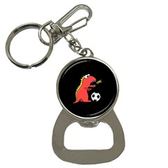 Black Cartoon Dinosaur Soccer Bottle Opener Key Chain