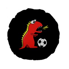 Black Cartoon Dinosaur Soccer 15  Premium Round Cushion