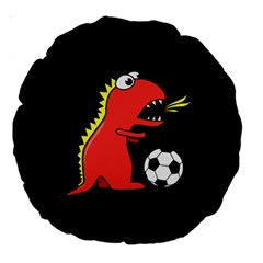 Black Cartoon Dinosaur Soccer 18  Premium Round Cushion