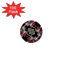 Floral Arabesque Decorative Artwork 1  Mini Button (100 pack)