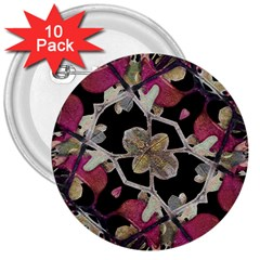 Floral Arabesque Decorative Artwork 3  Button (10 Pack)