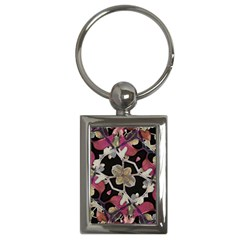 Floral Arabesque Decorative Artwork Key Chain (rectangle)