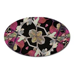 Floral Arabesque Decorative Artwork Magnet (Oval)