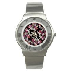 Floral Arabesque Decorative Artwork Stainless Steel Watch (Slim)
