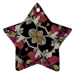 Floral Arabesque Decorative Artwork Star Ornament (two Sides)