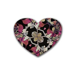 Floral Arabesque Decorative Artwork Drink Coasters 4 Pack (Heart)