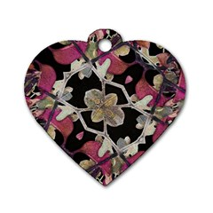 Floral Arabesque Decorative Artwork Dog Tag Heart (two Sided)
