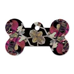 Floral Arabesque Decorative Artwork Dog Tag Bone (Two Sided)