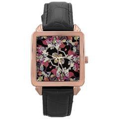 Floral Arabesque Decorative Artwork Rose Gold Leather Watch