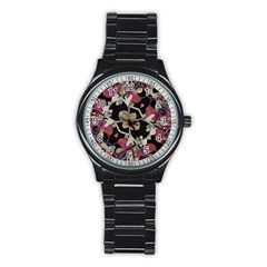 Floral Arabesque Decorative Artwork Sport Metal Watch (Black)