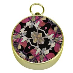 Floral Arabesque Decorative Artwork Gold Compass
