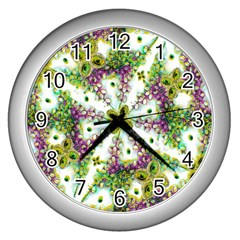 Neo Noveau Style Background Pattern Wall Clock (silver)