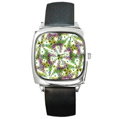 Neo Noveau Style Background Pattern Square Leather Watch
