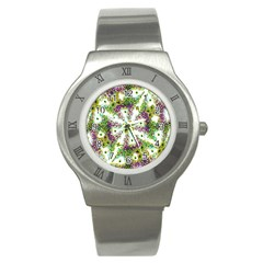 Neo Noveau Style Background Pattern Stainless Steel Watch (slim)