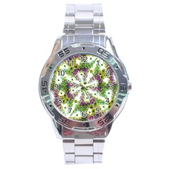 Neo Noveau Style Background Pattern Stainless Steel Watch