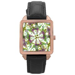 Neo Noveau Style Background Pattern Rose Gold Leather Watch