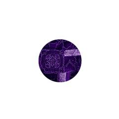 Pretty Purple Patchwork 1  Mini Button Magnet