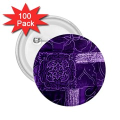 Pretty Purple Patchwork 2 25  Button (100 Pack)