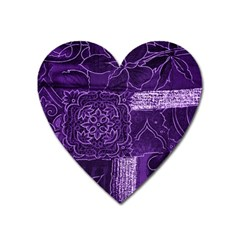 Pretty Purple Patchwork Magnet (heart)