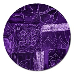 Pretty Purple Patchwork Magnet 5  (round)