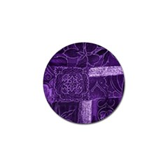 Pretty Purple Patchwork Golf Ball Marker 4 Pack