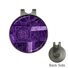 Pretty Purple Patchwork Hat Clip with Golf Ball Marker