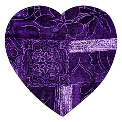 Pretty Purple Patchwork Jigsaw Puzzle (heart)