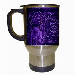 Pretty Purple Patchwork Travel Mug (White)