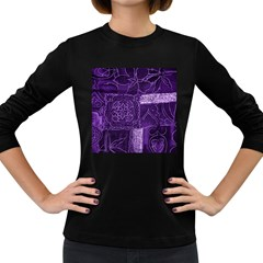 Pretty Purple Patchwork Women s Long Sleeve T-shirt (Dark Colored)