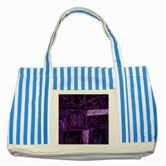 Pretty Purple Patchwork Blue Striped Tote Bag