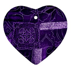 Pretty Purple Patchwork Heart Ornament (two Sides)