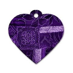 Pretty Purple Patchwork Dog Tag Heart (One Sided)