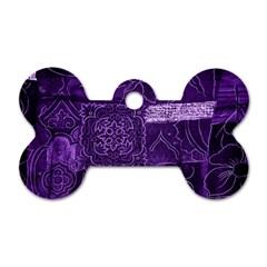 Pretty Purple Patchwork Dog Tag Bone (Two Sided)