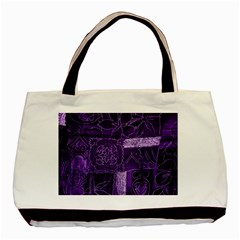 Pretty Purple Patchwork Twin-sided Black Tote Bag