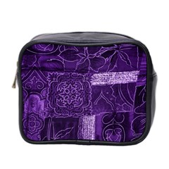 Pretty Purple Patchwork Mini Travel Toiletry Bag (two Sides)