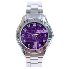 Pretty Purple Patchwork Stainless Steel Watch