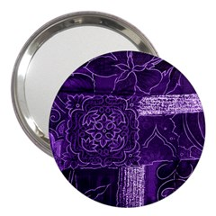 Pretty Purple Patchwork 3  Handbag Mirror