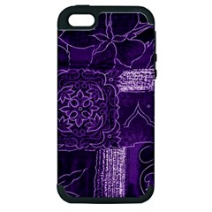 Pretty Purple Patchwork Apple Iphone 5 Hardshell Case (pc+silicone)